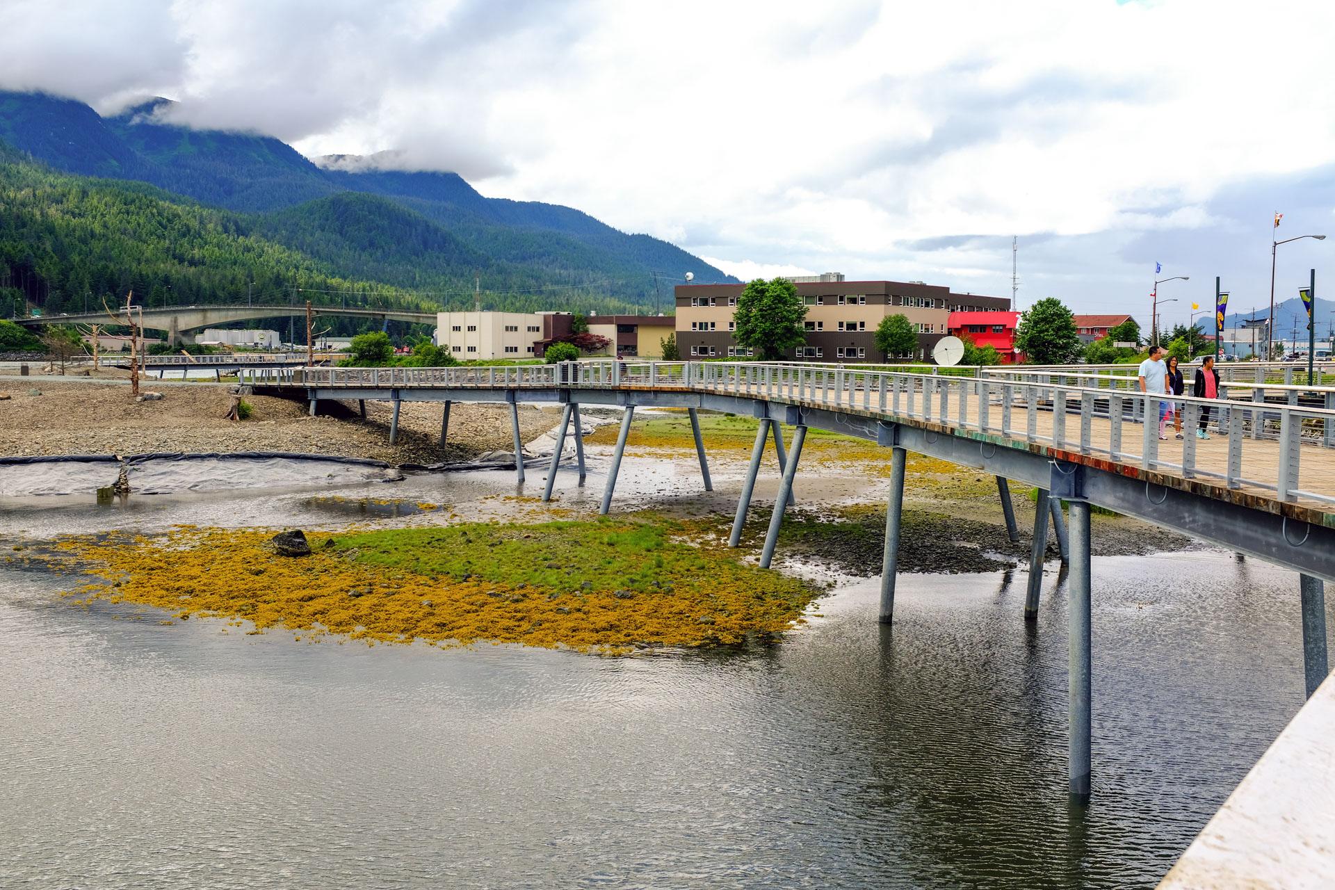Seawalk bridge over intertidal water