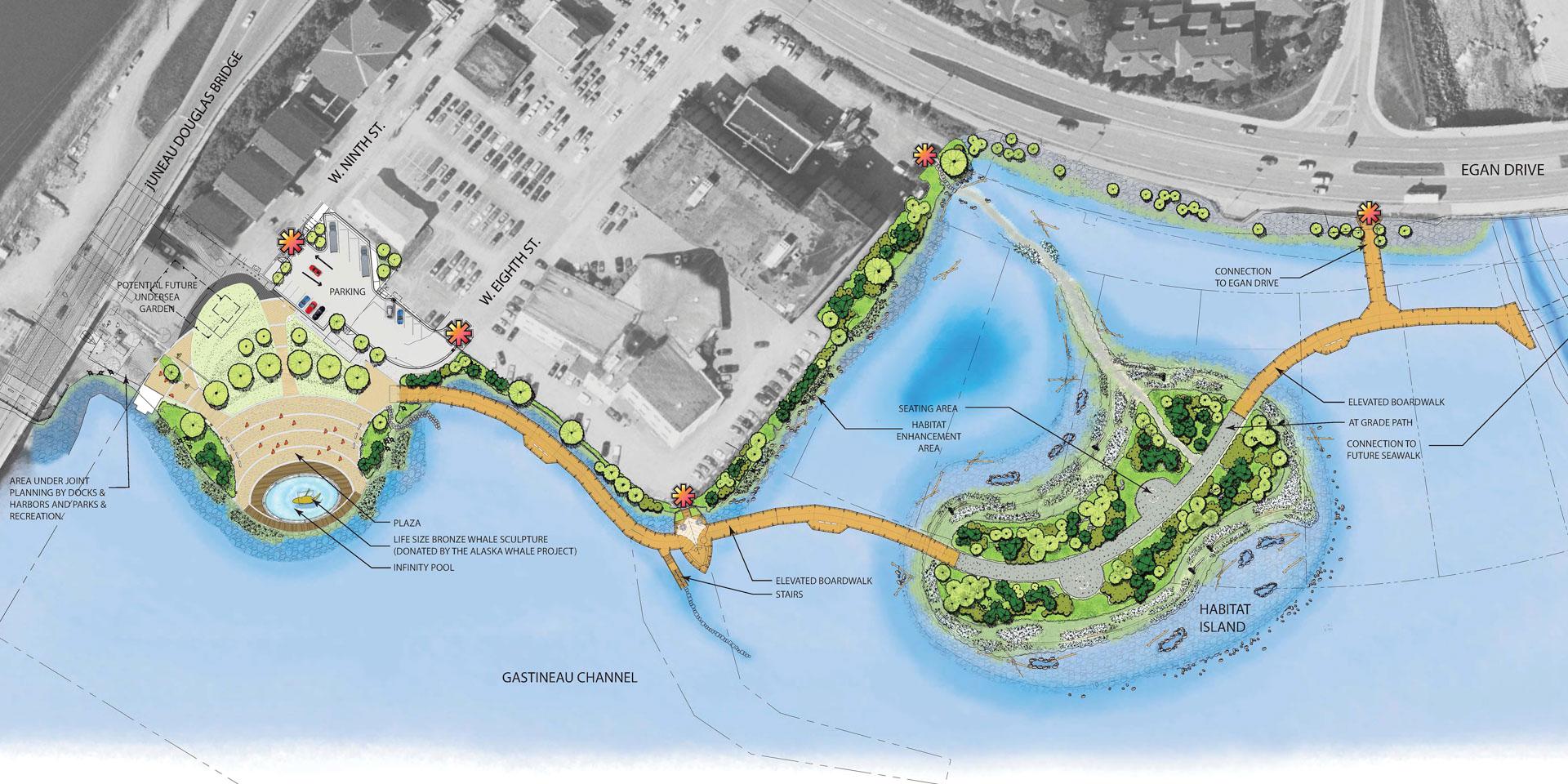 Plan of Seawalk pedestrian route